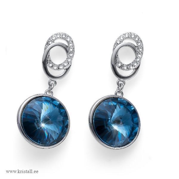 Dark Blue Aquamarine Earring